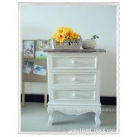 三抽木质小高床头柜 复古做旧风格斗柜 厂家直销个性柜子