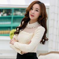 实拍加绒加厚秋冬新款气质长袖打底衫网纱珍珠领蕾丝衫