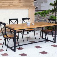 美式复古实木咖啡茶餐厅餐桌椅家具 铁艺公司办公桌书桌会议桌子