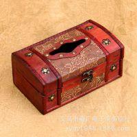 纸巾盒 木质 优质仿古 复古木制家居用品 抽纸盒 定做 创意餐纸盒