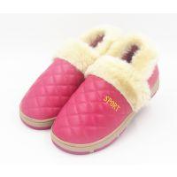 冬季居家棉鞋 防水棉鞋PU皮格子毛口居家鞋韩版情侣包跟鞋月子鞋