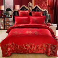 南通家纺 婚庆床上用品四件套 婚庆六件套 大红蕾丝结婚床上用品