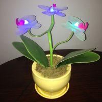 【厂家供应】时尚仿真蝴蝶兰花布艺小夜灯LED仿真花盆景 仿真植物