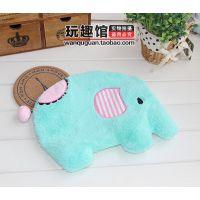 薄荷绿小象 大象造型暖手袋 卡通毛绒热水袋 注水 可拆洗含内胆