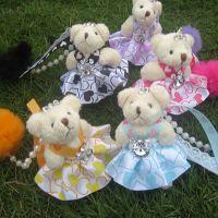 ②8cm新款叼毛球关节带钻玩具熊精品挂件 毛绒玩具批发