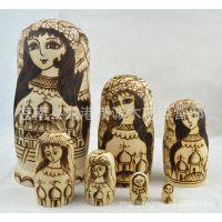 俄罗斯套娃-7层 椴木 烫金风格 细腻画工 美女+圣彼得堡