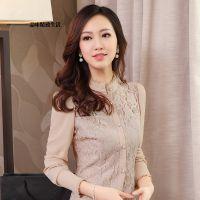 2014新款秋装韩版雪纺衬衫女 长袖韩版蕾丝上衣打底衫休闲衬衣