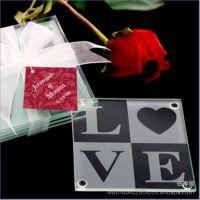 W331结婚婚庆用品批发 回礼love玻璃杯垫礼品 活动/抽奖/节日礼品