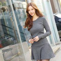 2014秋冬新款韩版修身打底羊毛绒长袖连身裙打底衫