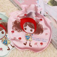 小苹果儿童安全热水袋 珠光PVC注水暖手宝 加水印花卡通暖水袋