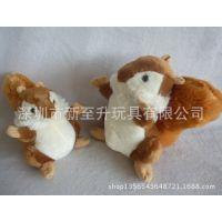 毛绒玩具松鼠公仔 车内挂饰品玻璃粘挂件 长尾巴松鼠玩偶