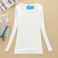 一件代发 秋冬款加绒牛奶丝长袖t恤韩版修身高领圆领打底衫女A040