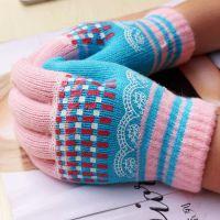 韩版时尚女士魔术手套 提花胶印保暖五指套 针织防寒骑车手套