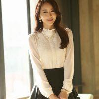 雪纺衫长袖蕾丝衫打底衫2014春装新款女装衬衫上衣韩版