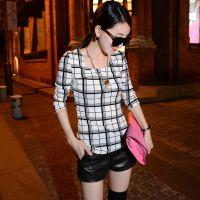 2014秋季新款时尚韩范大珍珠项链方格高弹力修身打底衫