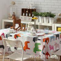 全棉 印花餐桌布台布卡通木马茶几布盖巾 布艺桌布可定做 批发