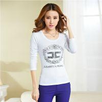 2014秋装新款韩版女装修身显瘦印花烫钻T恤长袖圆领打底衫T恤批发