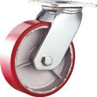 重型铁芯红色聚氨酯脚轮6寸万向轮 工业脚轮