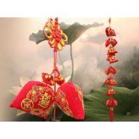 中国结烫金绒布16个方包钱袋香包串挂件 居家特色、喜庆婚房布置