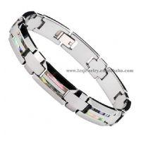 双色电镀不锈钢镶磁贝壳保健手链 欢迎来样加工 LB0156
