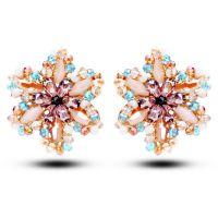 天奢珠宝彩色奥地利水晶手工耳环 外贸耳钉 直销2015000