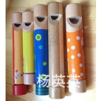 出口原单 ***玩 木制儿童抽拉口哨 变音木笛 儿童音乐玩具