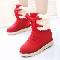 2014秋冬新款女靴 休闲时尚圆头低筒靴 厂家直销坡跟单靴