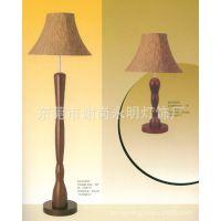 中式风格深桃木色酒店客房落地灯/台灯 高档亚麻布罩装饰立灯桌灯
