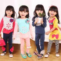 2014秋季新款儿童打底衫 田园风纯棉韩版女童T恤 厂家直销