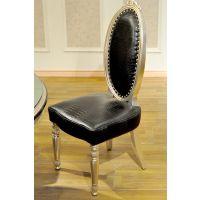 诗兰朵定制新款 欧式实木鳄鱼纹牛皮椅子舒适餐椅 皮革靠背