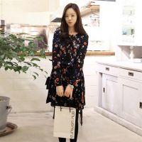 一件代发 2015春装新款 韩版碎花长袖雪纺连衣裙春装长袖打底裙子