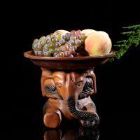 泰国招财大象果盘 动物木雕水果盘 东南亚家居摆件小象装饰品果盘