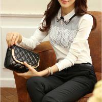 2014秋装新款大码女装打底衫韩版淑女修身气质长袖雪纺衫