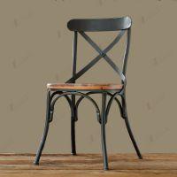 美式复古铁艺餐椅 餐厅仿古实木椅子 创意咖啡厅奶茶店背叉椅子