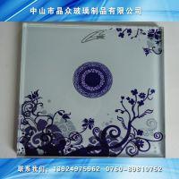 供应丝印玻璃,磨砂玻璃,高档青花色丝印钢化艺术玻璃