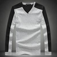 2014 秋季男装韩版纯棉V领长袖T恤男 潮男加大码恤衫打底衫黑色薄