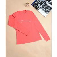 秋季韩版新款长袖t恤 女装修身 印花圆领长袖打底衫女 现货批发