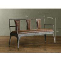 美式乡村 复古皮制铁艺沙发椅 仿锈做旧皮革双人位坐垫沙发椅子