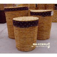 玉米皮编织收纳篓大中小脏衣篓  带里布 方形/圆形 特价厂家直销