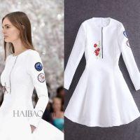 走秀款2014年秋冬新款欧美大牌女装重工刺绣修身长袖连衣裙1565