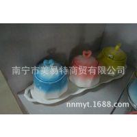STWG001鑫捷三色调味罐(配陶瓷盘) 厨房餐厅餐桌调料三件套