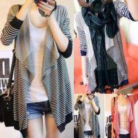 批发 2015新款秋冬装韩版孕妇装不规则条纹孕妇开衫孕妇羊毛衫C16