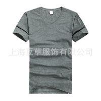 上海豆草服饰夏装新款纯色短袖T恤男款v领打底衫卡莱T恤定制做