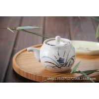 日本进口桔梗花酱油壶 陶瓷手绘酱料壶调味壶调料罐厨房餐桌用品