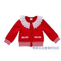 XQ14秋ALFONSO 韩国童装 女宝宝儿童红色针织长袖外套开衫原单