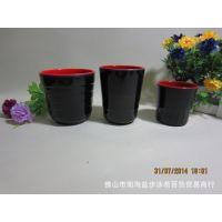 密胺餐具仿瓷红黑杯 横纹大杯 小杯 直口杯 茶杯 饮料杯