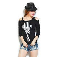 实拍长袖t恤女2014秋新打底衫短款个性修身韩版衣服 女t恤