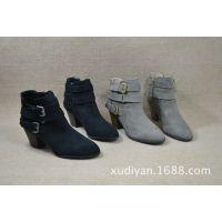 出口尾货 皮带扣绒面粗跟短靴 两个色几十双便宜清