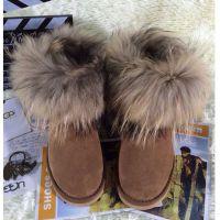 欧洲站14冬季狐狸毛雪地靴女士皮毛一体低筒靴真皮保暖女靴棉靴子