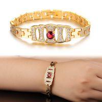 供应速卖通畅销爆款外贸饰品 欧美女式镶钻红宝石新娘贵妇镀18金手链
